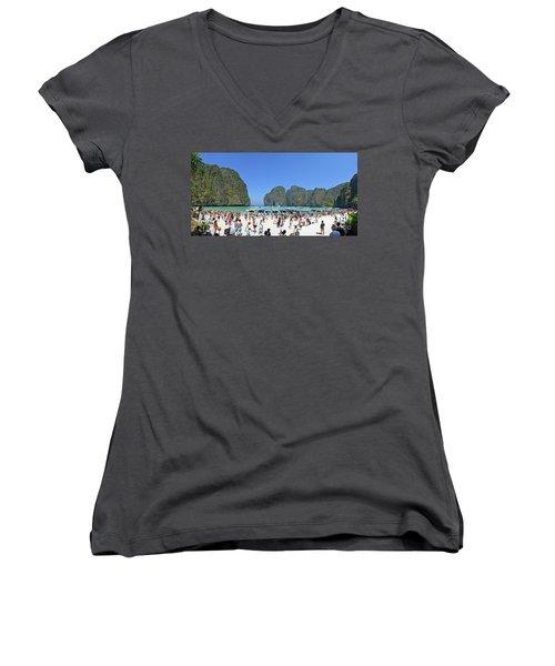 Women's V-Neck T-Shirt (Junior Cut) featuring the digital art Phi Phi Islands 4 by Eva Kaufman