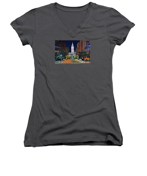 Philadelphia City Hall Women's V-Neck (Athletic Fit)