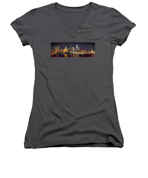 Philadelphia Philly Skyline At Night From East Color Women's V-Neck (Athletic Fit)