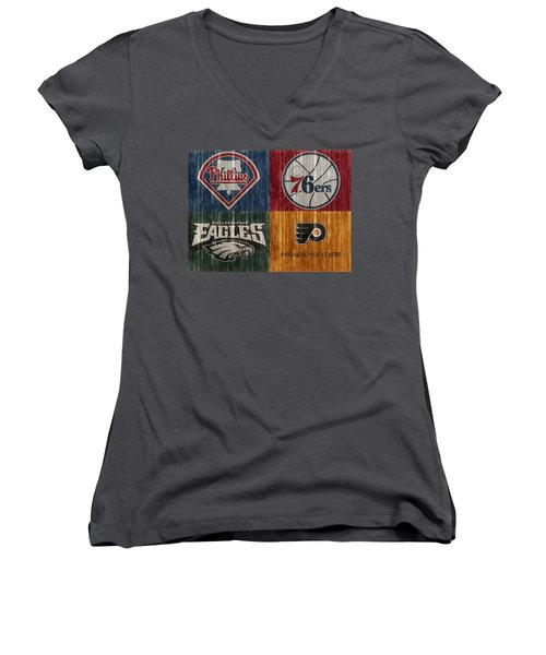 Women's V-Neck featuring the mixed media Philadelphia Sports Teams by Dan Sproul
