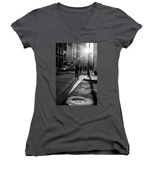 Women's V-Neck T-Shirt (Junior Cut) featuring the photograph Philadelphia Street Photography - 0943 by David Sutton