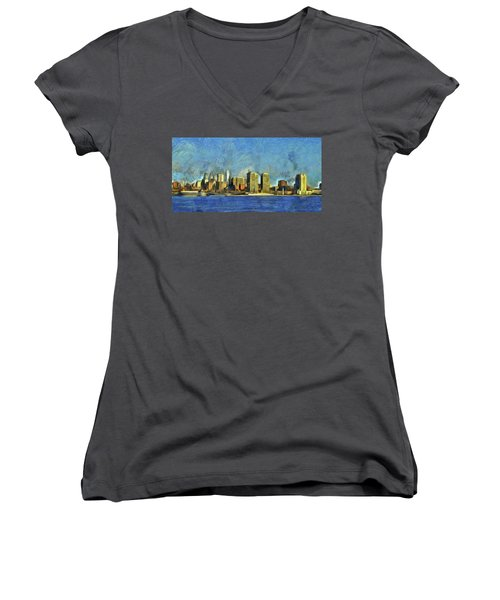 Women's V-Neck T-Shirt (Junior Cut) featuring the mixed media Philly Skyline by Trish Tritz