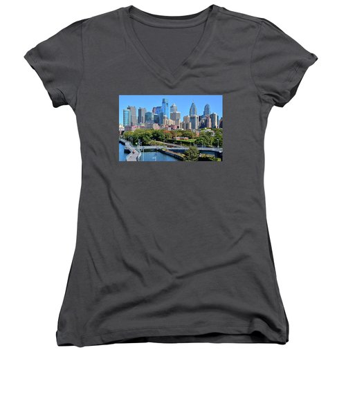 Women's V-Neck T-Shirt (Junior Cut) featuring the photograph Philly With Walking Trail by Frozen in Time Fine Art Photography
