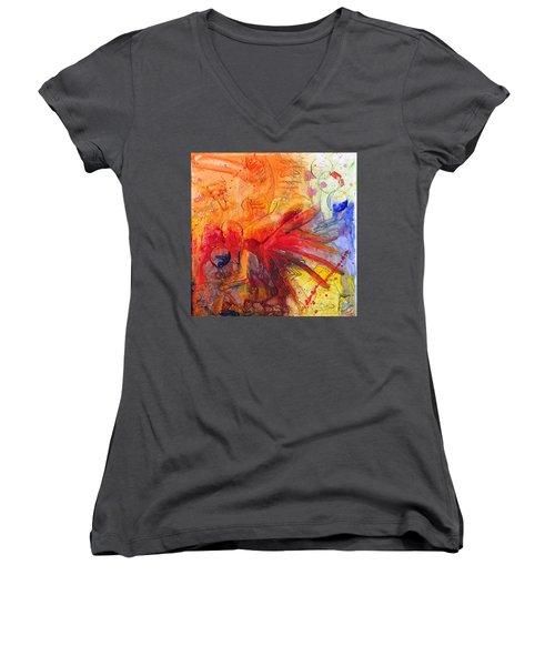 Phoenix Hummingbird Women's V-Neck T-Shirt (Junior Cut) by Phil Strang
