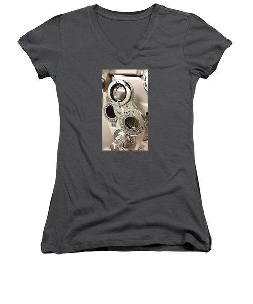 Phoropter Women's V-Neck T-Shirt (Junior Cut) by Keith Hawley