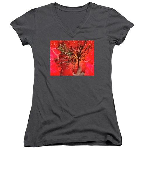 Women's V-Neck T-Shirt (Junior Cut) featuring the photograph Photo Sin Thesis by Susan Capuano