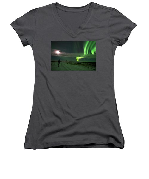 Women's V-Neck T-Shirt featuring the photograph Photographer Under The Northern Light by Dubi Roman