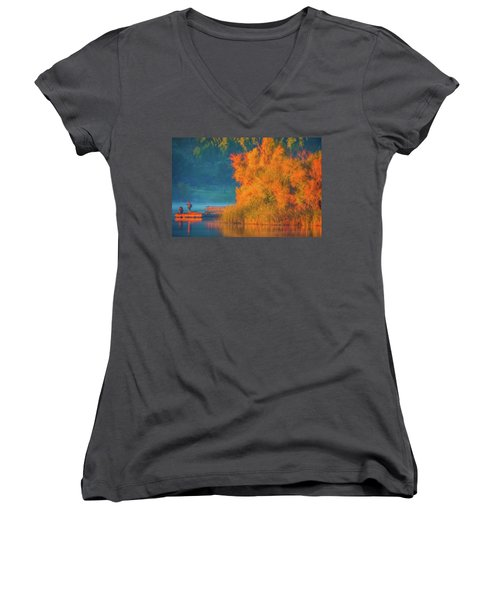 Women's V-Neck T-Shirt (Junior Cut) featuring the photograph Photographing The Sunrise by Marc Crumpler