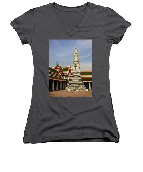 Phra Prang Tower At Wat Pho Temple Women's V-Neck (Athletic Fit)