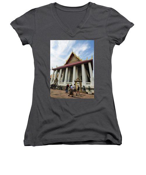 Phra Ubosot At Wat Pho Temple Women's V-Neck (Athletic Fit)