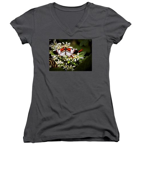 Piano Key 3 Women's V-Neck T-Shirt (Junior Cut) by Penny Lisowski