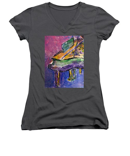 Piano Purple - Cropped Women's V-Neck (Athletic Fit)