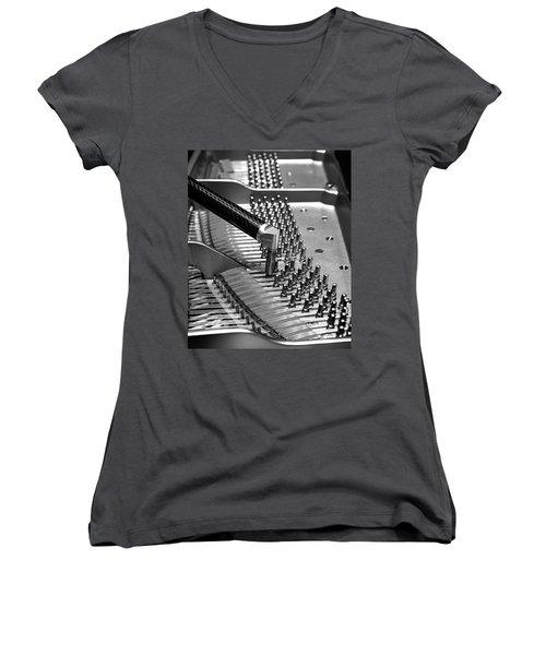 Piano Tuning Bw Women's V-Neck
