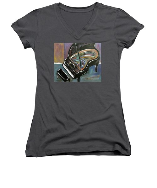 Piano With High Heel Women's V-Neck (Athletic Fit)