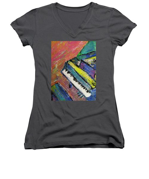 Piano With Yellow Women's V-Neck (Athletic Fit)