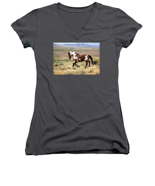 Picasso Strutting His Stuff Women's V-Neck T-Shirt (Junior Cut) by Nadja Rider
