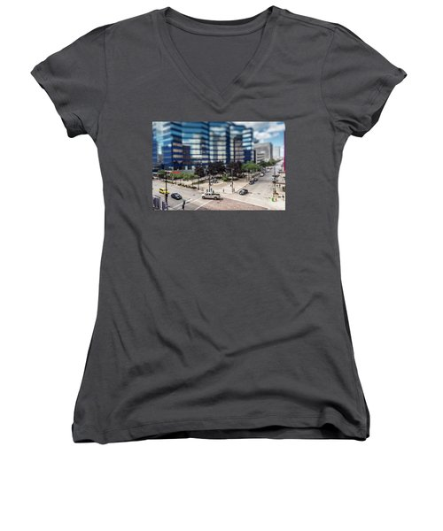 Pick-up Truck In The Itty-bitty-city Women's V-Neck (Athletic Fit)