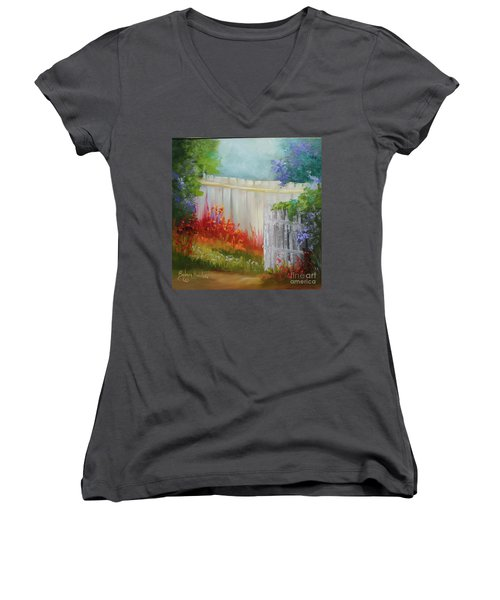 Picket Fences Women's V-Neck T-Shirt (Junior Cut)