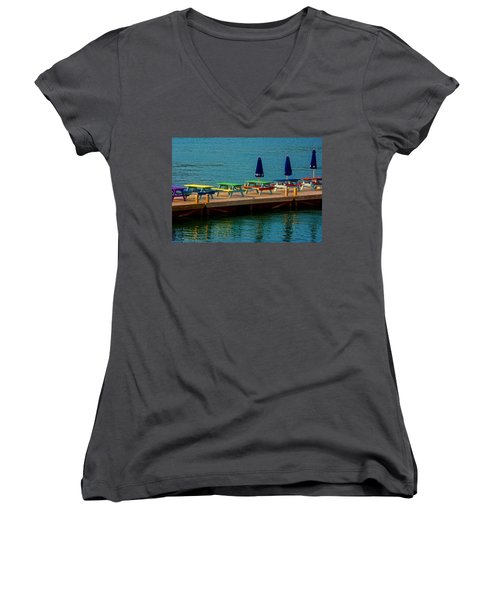 Picnic On The Water Women's V-Neck T-Shirt