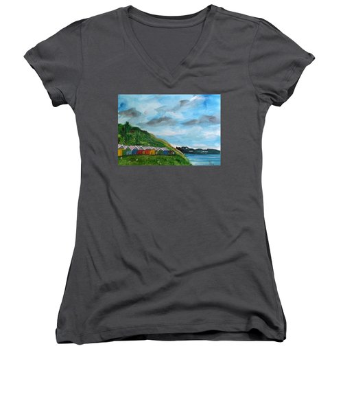 Picture Postcard View Of Scarborough Women's V-Neck T-Shirt (Junior Cut) by Carole Robins