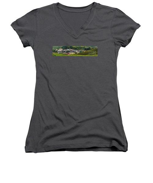 Women's V-Neck T-Shirt (Junior Cut) featuring the photograph Piemonte Panoramic by Brian Jannsen