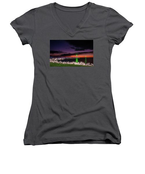Pier And Lighthouse Women's V-Neck