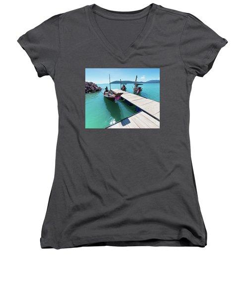 Women's V-Neck T-Shirt (Junior Cut) featuring the photograph Pier At Khanom by Atiketta Sangasaeng