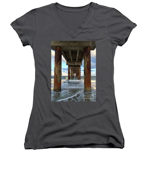 Pier In Strength And Peaceful Serenity Women's V-Neck T-Shirt (Junior Cut) by Cindy Croal