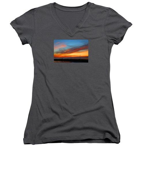 Women's V-Neck T-Shirt (Junior Cut) featuring the photograph Pier Sunrise by Michael Rucker