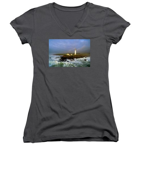 Pigeon Point Lighthouse Women's V-Neck T-Shirt (Junior Cut) by Evgeny Vasenev
