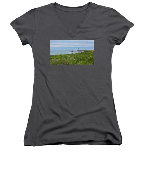Pigeon Point Lighthouse Women's V-Neck T-Shirt (Junior Cut) by Mark Barclay