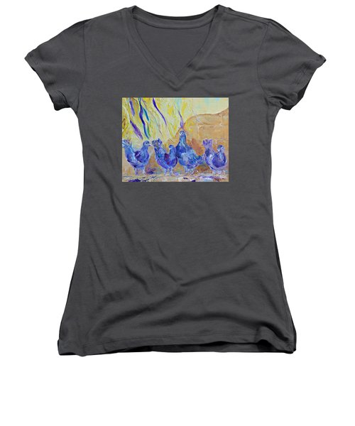 Women's V-Neck T-Shirt (Junior Cut) featuring the painting Pigeons by AmaS Art
