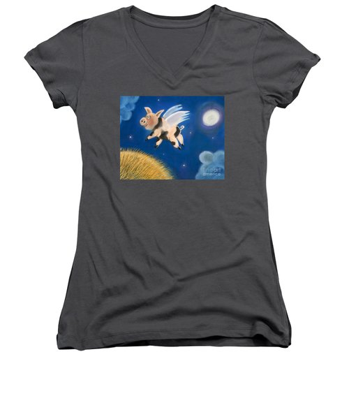 Pigs Might Fly Women's V-Neck (Athletic Fit)