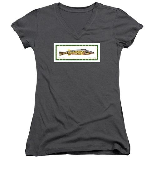 Pike Ice Fishing Decoy Women's V-Neck T-Shirt