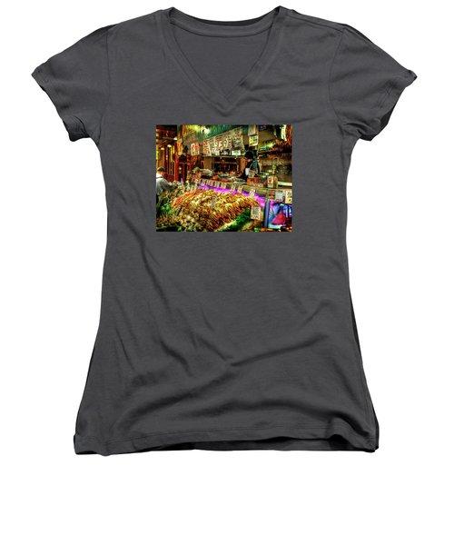Pike Market Fresh Fish Women's V-Neck T-Shirt (Junior Cut) by Greg Sigrist