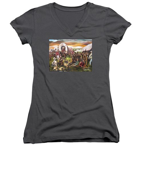 Women's V-Neck T-Shirt (Junior Cut) featuring the painting Pilgrims On The Plain by Sigrid Tune
