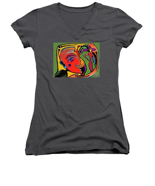 Pinching The Bird Women's V-Neck T-Shirt (Junior Cut) by Hans Magden