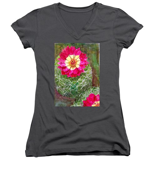 Women's V-Neck T-Shirt (Junior Cut) featuring the painting Pincushion Cactus by Eric Samuelson