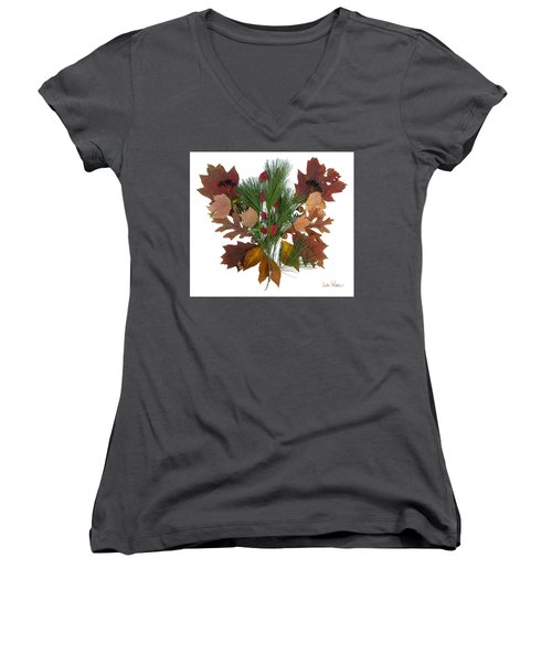 Women's V-Neck T-Shirt (Junior Cut) featuring the digital art Pine And Leaf Bouquet by Lise Winne