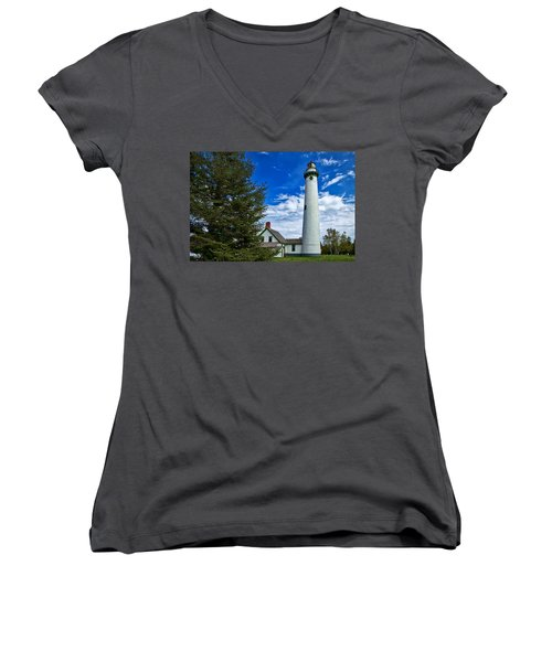 Pine At New Presque Isle Light Women's V-Neck (Athletic Fit)