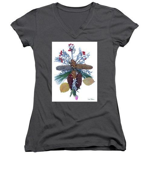 Women's V-Neck T-Shirt (Junior Cut) featuring the digital art Pine Cone Bouquet by Lise Winne