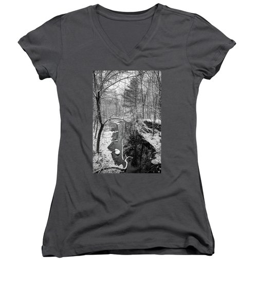 Pine Reflection On The Sheepscot Women's V-Neck (Athletic Fit)