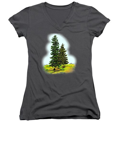 Pine Tree Nature Watercolor Ink Image 2         Women's V-Neck (Athletic Fit)