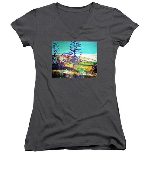 Pine Tree Pandanus Women's V-Neck T-Shirt (Junior Cut) by Winsome Gunning