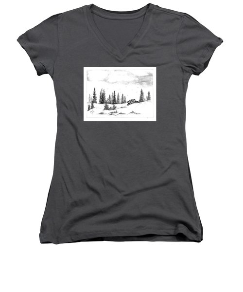 Women's V-Neck T-Shirt (Junior Cut) featuring the drawing Pinetree Cabin by Terri Mills