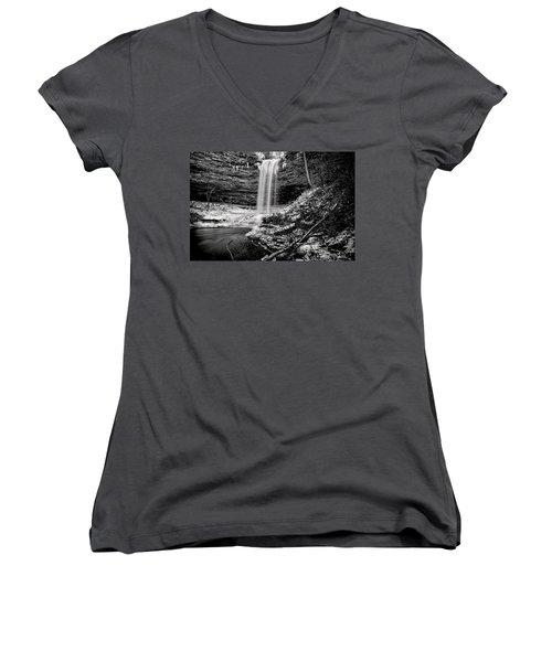 Piney Falls In Black And White Women's V-Neck T-Shirt