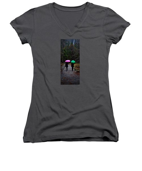 Pink And Green Women's V-Neck T-Shirt