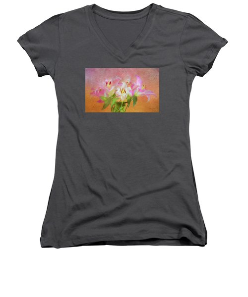 Women's V-Neck T-Shirt featuring the photograph Pink And White Lilies by Bellesouth Studio