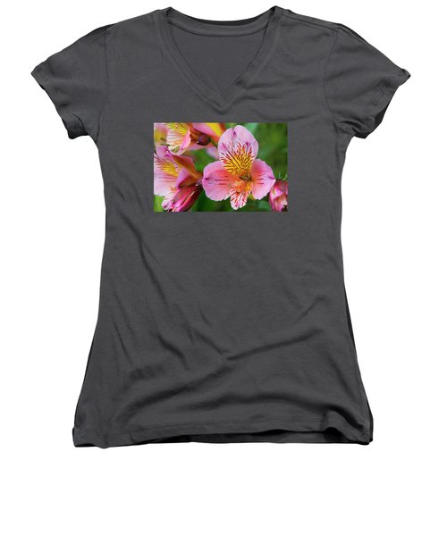 Pink And Yellow Flora Women's V-Neck (Athletic Fit)
