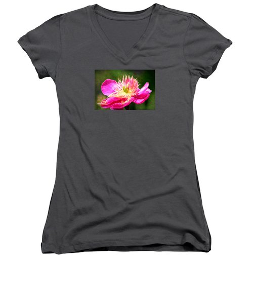 Pink Beauty Women's V-Neck T-Shirt (Junior Cut) by Bonnie Bruno